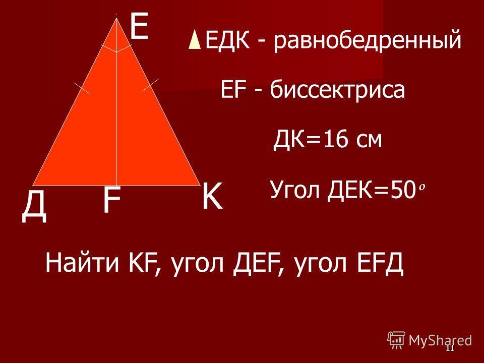 11 Е Д F K ЕДК - равнобедренный EF - биссектриса ДК=16 см Угол ДЕК=50 º Найти KF, угол ДЕF, угол EFД