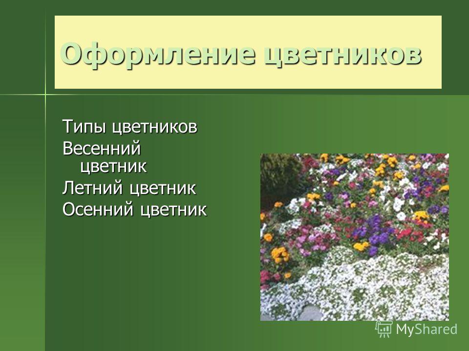 Типы цветников Весенний цветник Летний цветник Осенний цветник
