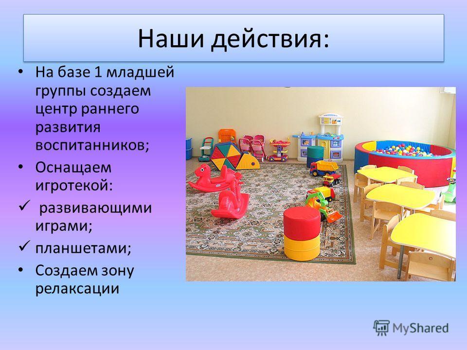 Наши действия: На базе 1 младшей группы создаем центр раннего развития воспитанников; Оснащаем игротекой: развивающими играми; планшетами; Создаем зону релаксации