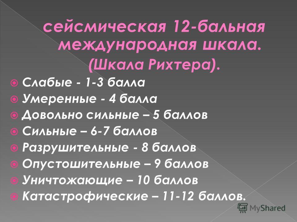 сейсмическая 12-бальная международная шкала. (Шкала Рихтера). Слабые - 1-3 балла Умеренные - 4 балла Довольно сильные – 5 баллов Сильные – 6-7 баллов Разрушительные - 8 баллов Опустошительные – 9 баллов Уничтожающие – 10 баллов Катастрофические – 11-