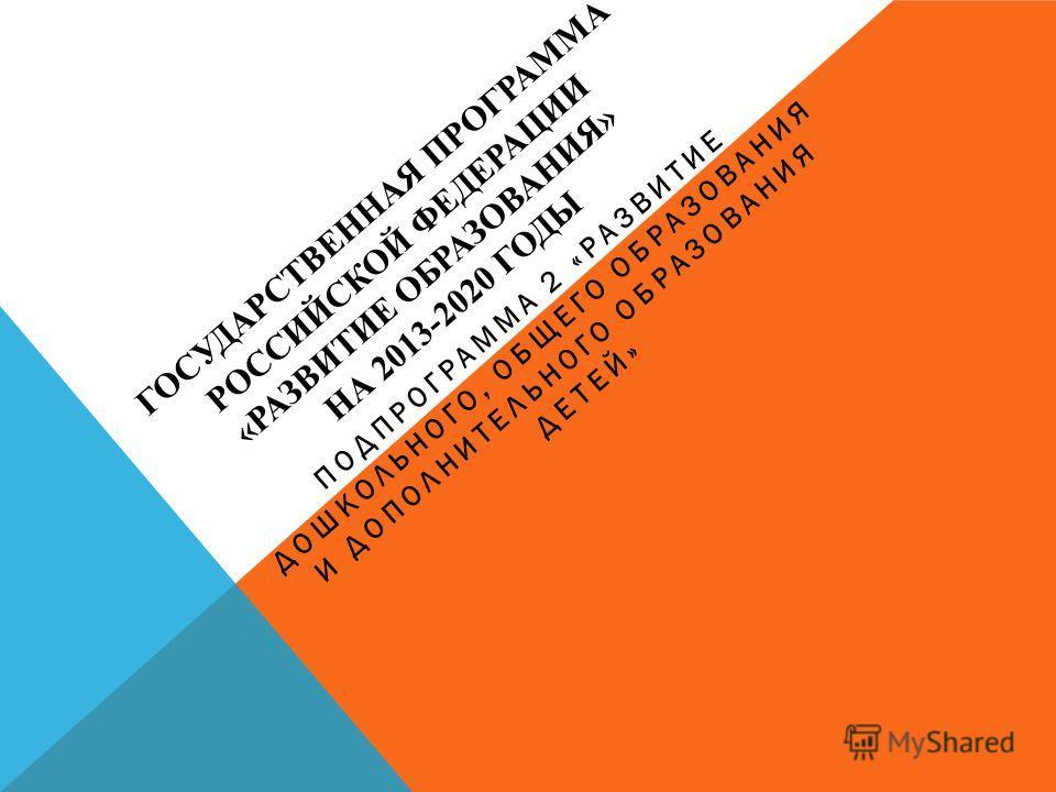 ГОСУДАРСТВЕННАЯ ПРОГРАММА РОССИЙСКОЙ ФЕДЕРАЦИИ «РАЗВИТИЕ ОБРАЗОВАНИЯ» НА 2013-2020 ГОДЫ ПОДПРОГРАММА 2 «РАЗВИТИЕ ДОШКОЛЬНОГО, ОБЩЕГО ОБРАЗОВАНИЯ И ДОПОЛНИТЕЛЬНОГО ОБРАЗОВАНИЯ ДЕТЕЙ»