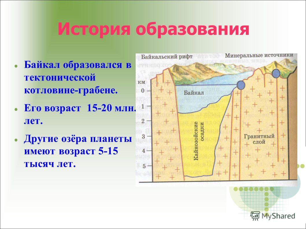 История образования Байкал образовался в тектонической котловине-грабене. Его возраст 15-20 млн. лет. Другие озёра планеты имеют возраст 5-15 тысяч лет.