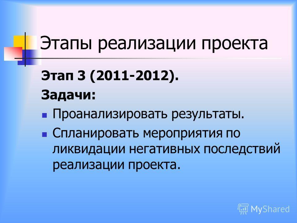 Этапы реализации проекта Этап 3 (2011-2012). Задачи: Проанализировать результаты. Спланировать мероприятия по ликвидации негативных последствий реализации проекта.