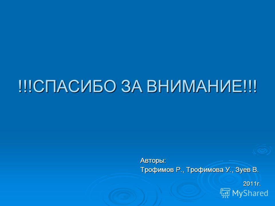 !!!СПАСИБО ЗА ВНИМАНИЕ!!! Авторы: Трофимов Р., Трофимова У., Зуев В. 2011г.
