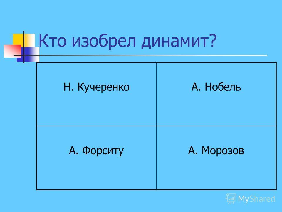 Кто изобрел динамит? Н. КучеренкоА. Нобель А. ФорситуА. Морозов