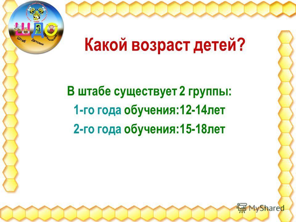 Какой возраст детей? В штабе существует 2 группы: 1-го года обучения:12-14лет 2-го года обучения:15-18лет