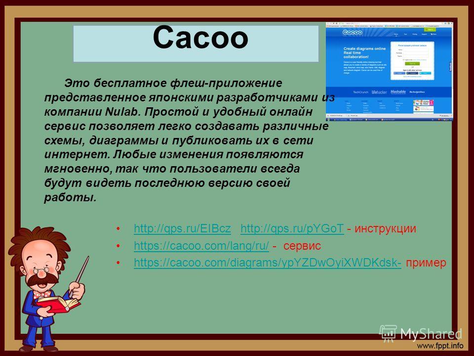http://qps.ru/EIBcz http://qps.ru/pYGoT - инструкцииhttp://qps.ru/EIBczhttp://qps.ru/pYGoT https://cacoo.com/lang/ru/ - сервисhttps://cacoo.com/lang/ru/ https://cacoo.com/diagrams/ypYZDwOyiXWDKdsk- примерhttps://cacoo.com/diagrams/ypYZDwOyiXWDKdsk- Э