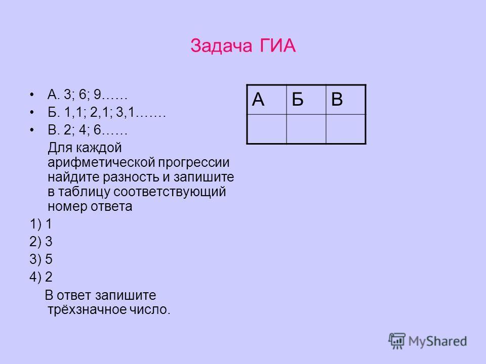 Задача ГИА А. 3; 6; 9…… Б. 1,1; 2,1; 3,1……. В. 2; 4; 6…… Для каждой арифметической прогрессии найдите разность и запишите в таблицу соответствующий номер ответа 1) 1 2) 3 3) 5 4) 2 В ответ запишите трёхзначное число. АБВ
