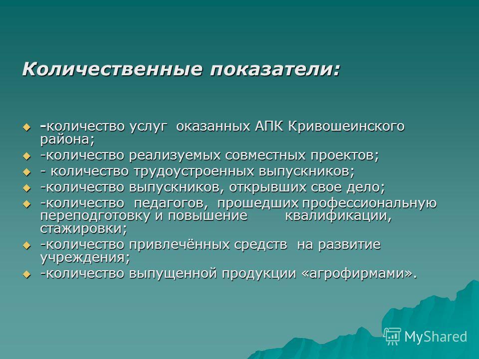 Количественные показатели: -количество услуг оказанных АПК Кривошеинского района; -количество услуг оказанных АПК Кривошеинского района; -количество реализуемых совместных проектов; -количество реализуемых совместных проектов; - количество трудоустро