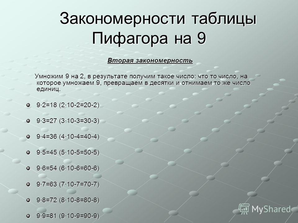Вторая закономерность Вторая закономерность Умножим 9 на 2, в результате получим такое число: что то число, на которое умножаем 9, превращаем в десятки и отнимаем то же число единиц. Умножим 9 на 2, в результате получим такое число: что то число, на