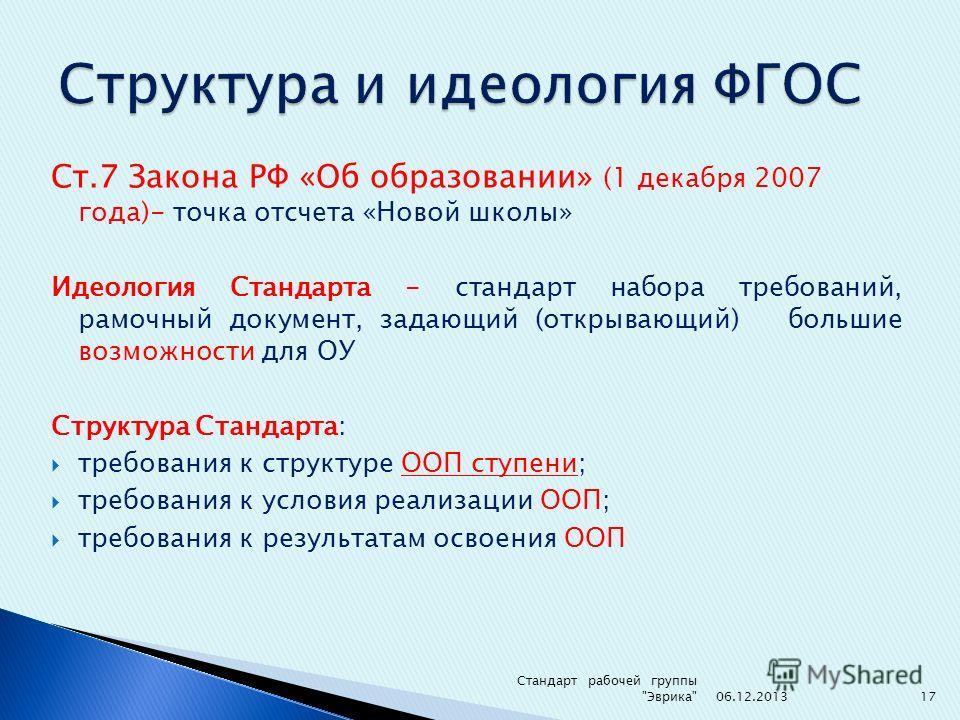 Ст.7 Закона РФ «Об образовании» (1 декабря 2007 года)- точка отсчета «Новой школы» Идеология Стандарта - стандарт набора требований, рамочный документ, задающий (открывающий) большие возможности для ОУ Структура Стандарта: требования к структуре ООП