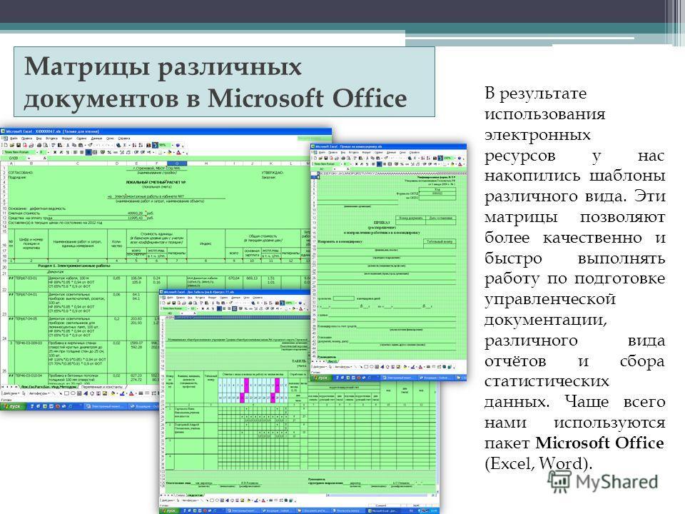 Матрицы различных документов в Microsoft Office В результате использования электронных ресурсов у нас накопились шаблоны различного вида. Эти матрицы позволяют более качественно и быстро выполнять работу по подготовке управленческой документации, раз