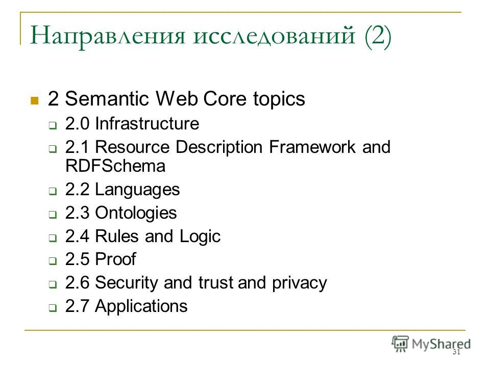 31 Направления исследований (2) 2 Semantic Web Core topics 2.0 Infrastructure 2.1 Resource Description Framework and RDFSchema 2.2 Languages 2.3 Ontologies 2.4 Rules and Logic 2.5 Proof 2.6 Security and trust and privacy 2.7 Applications