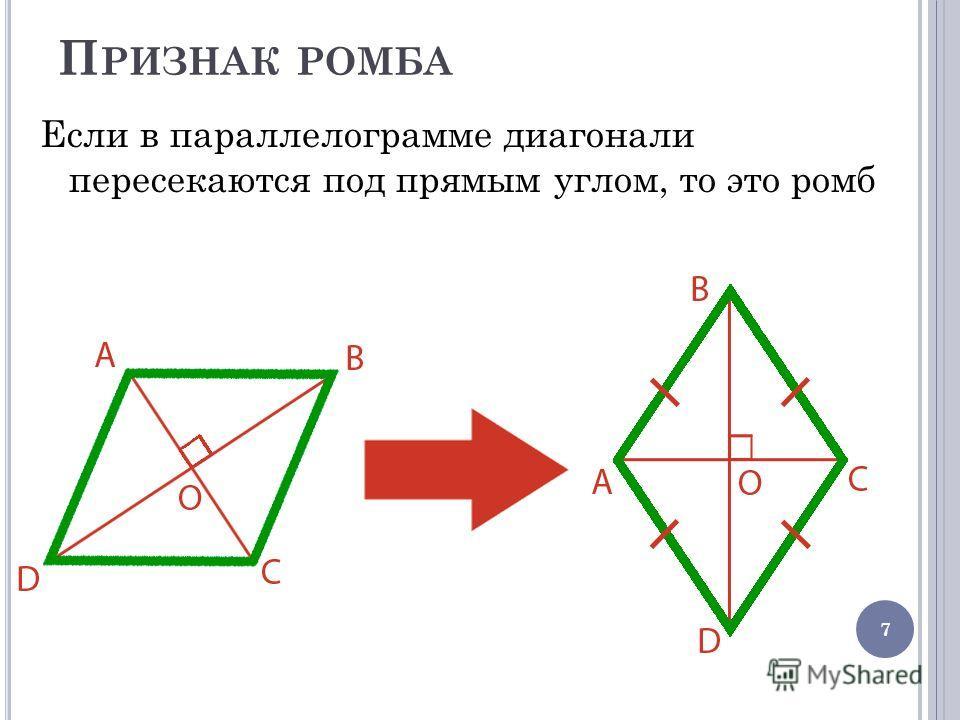 П РИЗНАК РОМБА Если в параллелограмме диагонали пересекаются под прямым углом, то это ромб 7