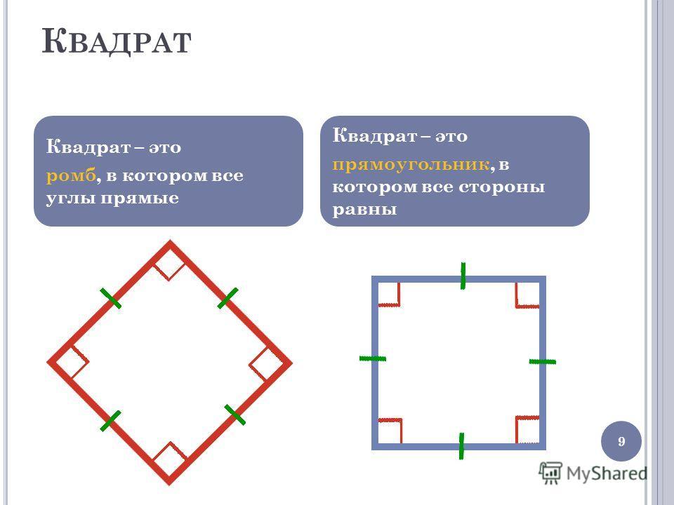 Квадрат – это ромб, в котором все углы прямые Квадрат – это прямоугольник, в котором все стороны равны 9