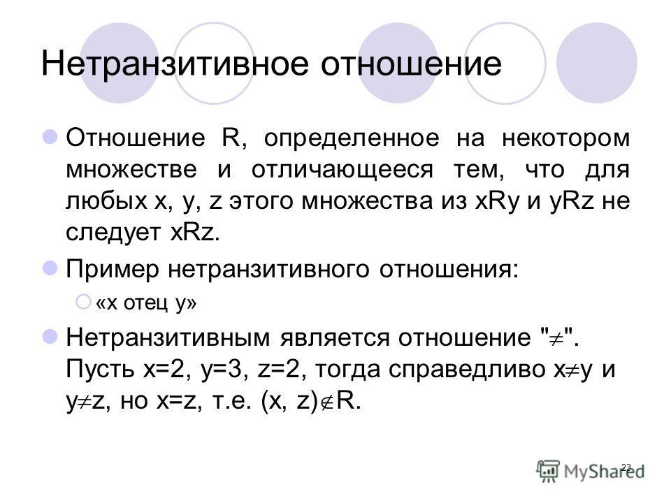 23 Нетранзитивное отношение Отношение R, определенное на некотором множестве и отличающееся тем, что для любых х, у, z этого множества из xRy и yRz не следует xRz. Пример нетранзитивного отношения: «x отец y» Нетранзитивным является отношение