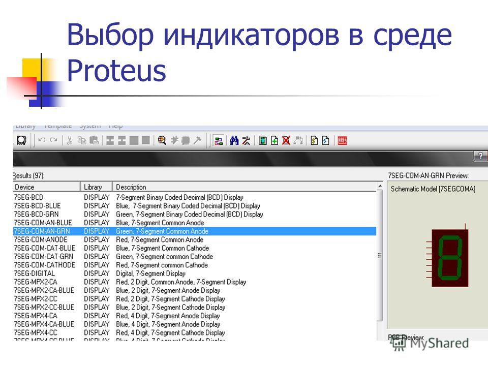 Выбор индикаторов в среде Proteus