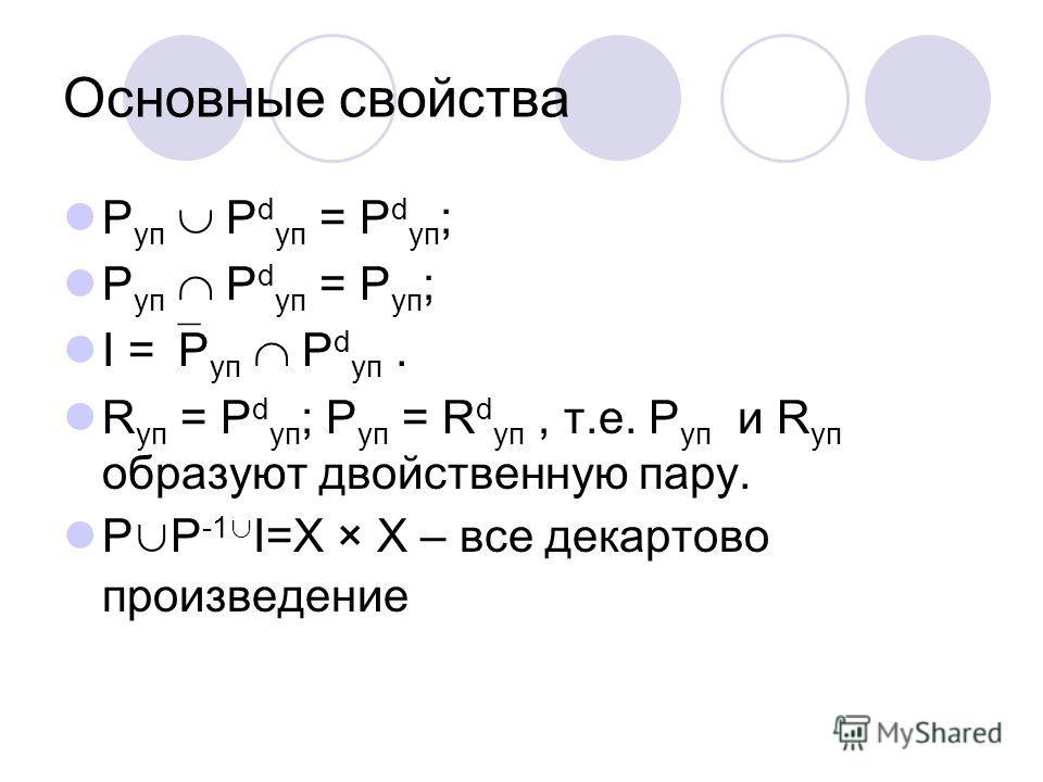 Основные свойства P уп P d уп = P d уп ; P уп P d уп = P уп ; I = P уп P d уп. R уп = P d уп ; P уп = R d уп, т.е. P уп и R уп образуют двойственную пару. P P -1 I=Х × Х – все декартово произведение