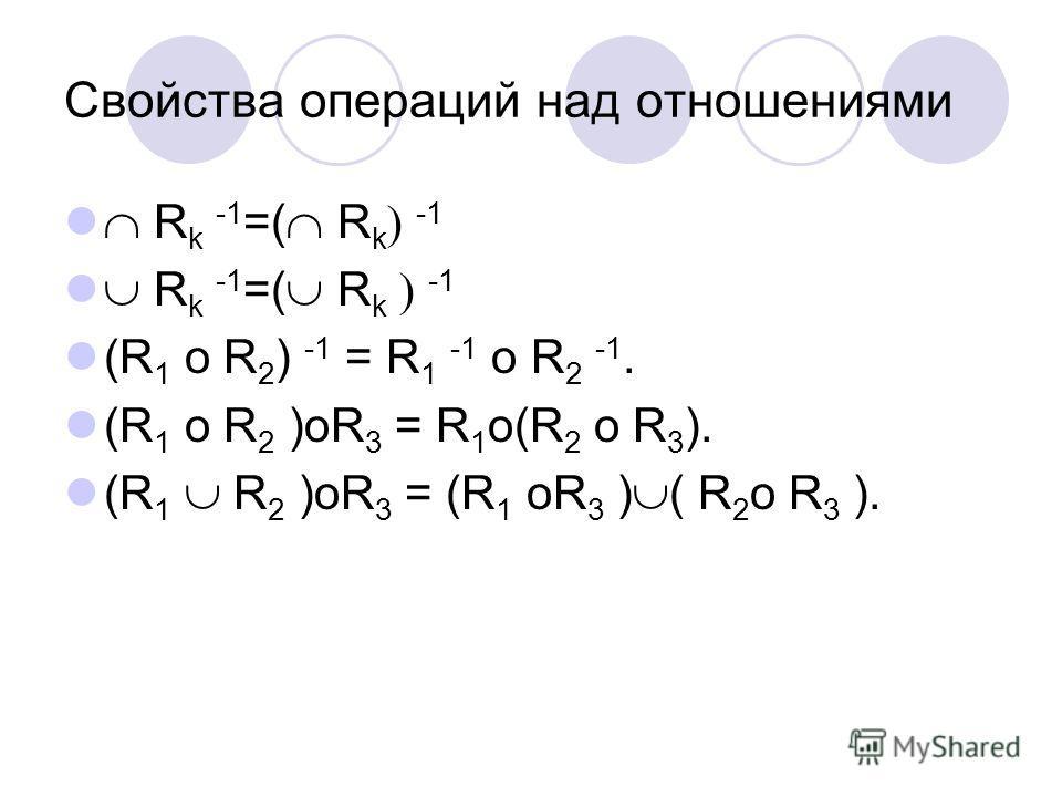 Свойства операций над отношениями R k -1 =( R k -1 (R 1 o R 2 ) -1 = R 1 -1 o R 2 -1. (R 1 o R 2 )oR 3 = R 1 o(R 2 o R 3 ). (R 1 R 2 )oR 3 = (R 1 oR 3 ) ( R 2 o R 3 ).