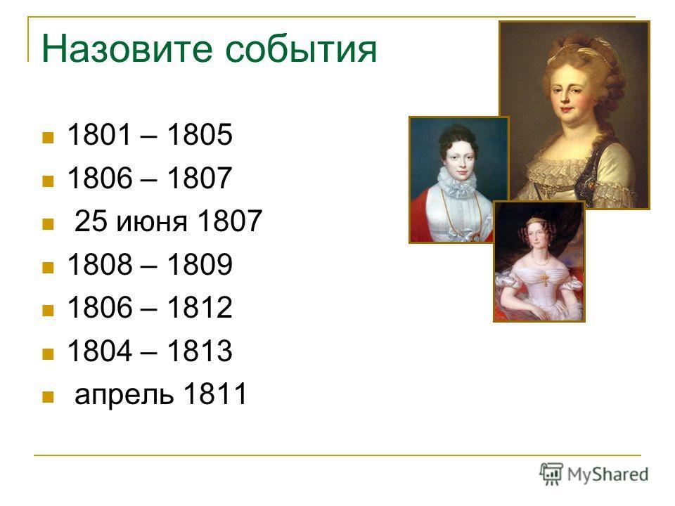Назовите события 1801 – 1805 1806 – 1807 25 июня 1807 1808 – 1809 1806 – 1812 1804 – 1813 апрель 1811