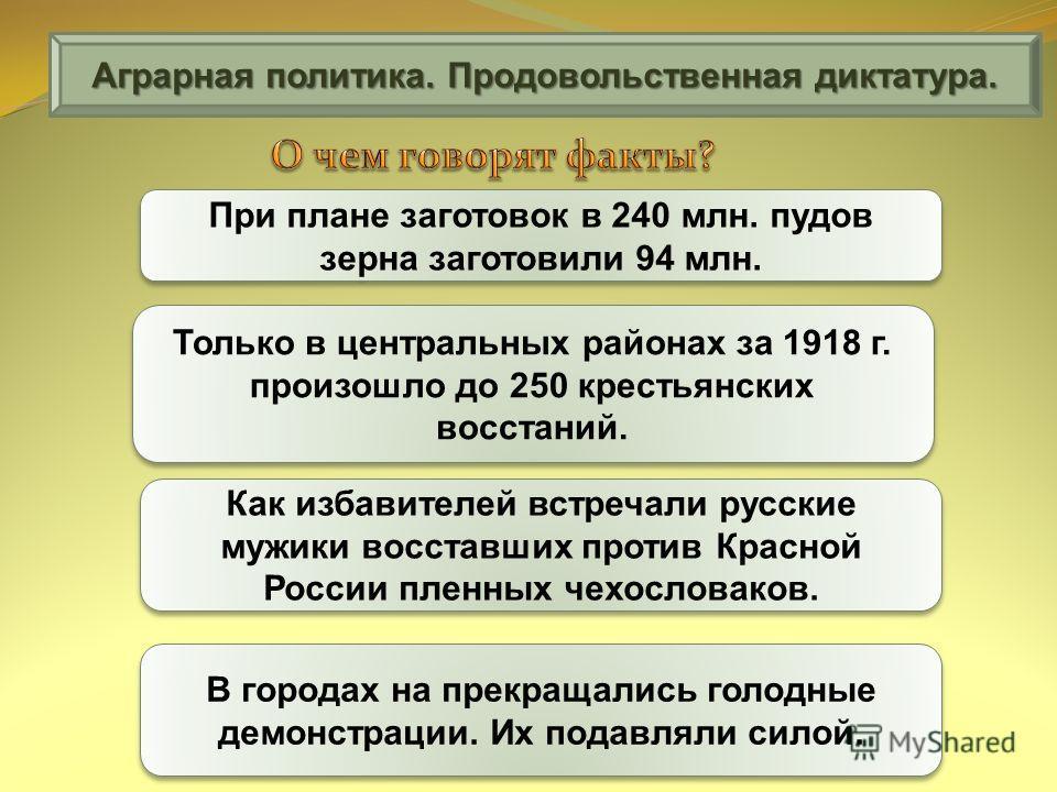 Аграрная политика. Продовольственная диктатура. При плане заготовок в 240 млн. пудов зерна заготовили 94 млн. Только в центральных районах за 1918 г. произошло до 250 крестьянских восстаний. Как избавителей встречали русские мужики восставших против