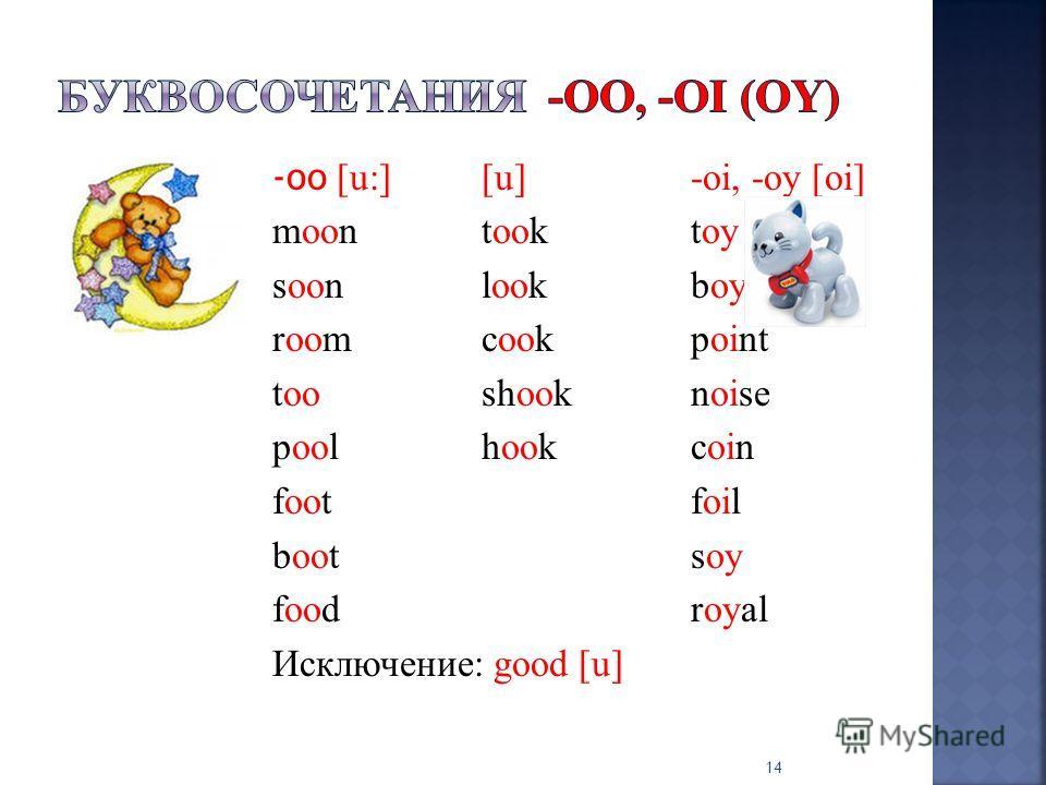 -oo [u:][u]-oi, -oy [оi] moontooktoy soonlookboy roomcookpoint tooshooknoise poolhookcoin footfoil bootsoy foodroyal Исключение: good [u] 14