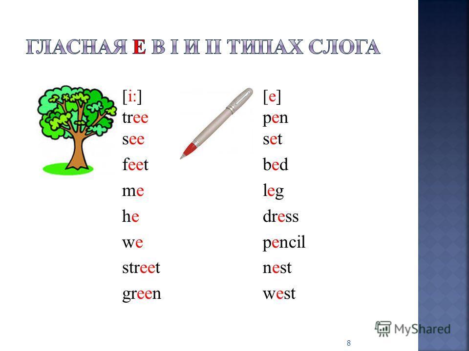 [i:] [e] treepen seeset feetbed meleg hedress wepencil streetnest greenwest 8