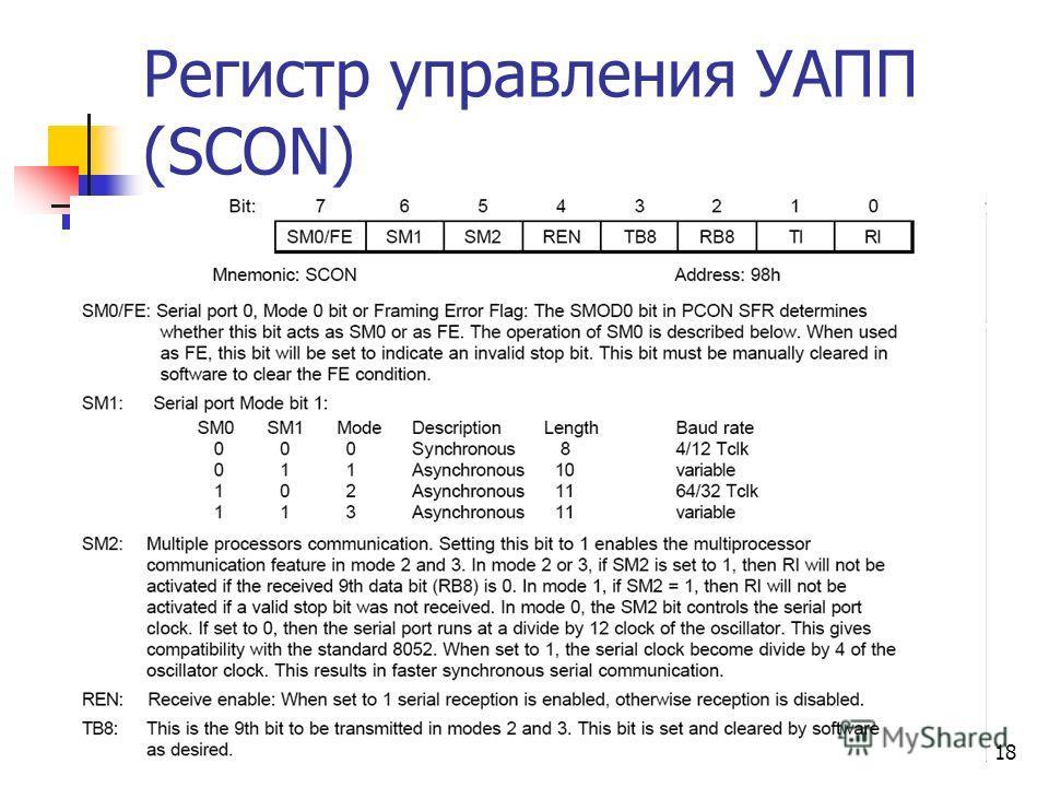 18 Регистр управления УАПП (SCON)
