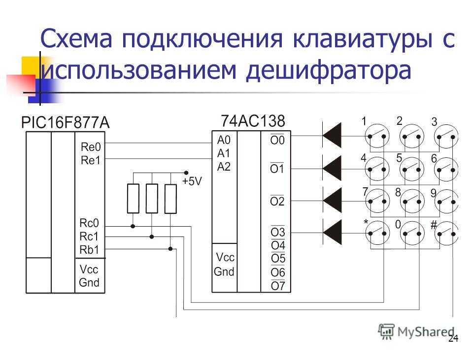 24 Схема подключения клавиатуры c использованием дешифратора