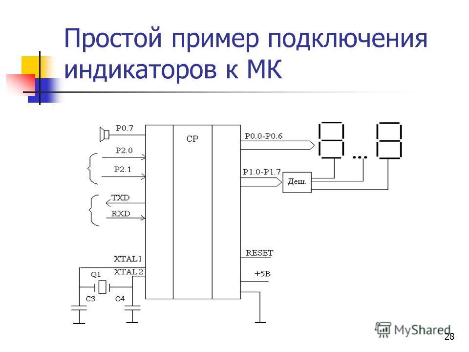 28 Простой пример подключения индикаторов к МК