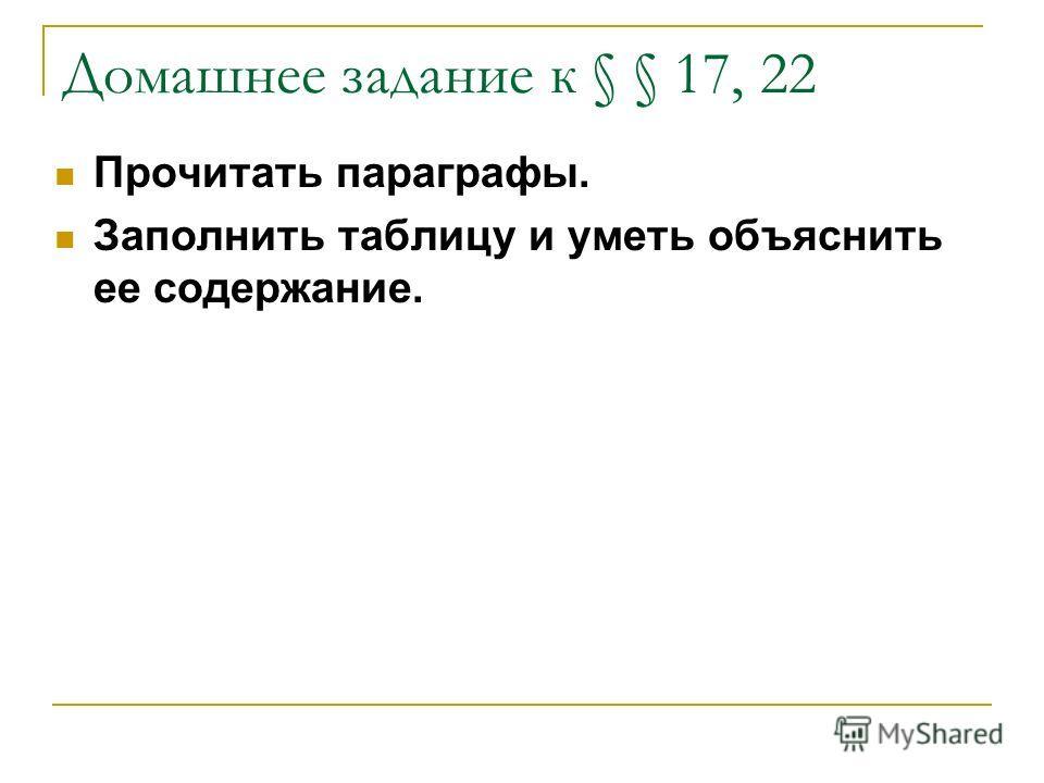 Домашнее задание к § § 17, 22 Прочитать параграфы. Заполнить таблицу и уметь объяснить ее содержание.