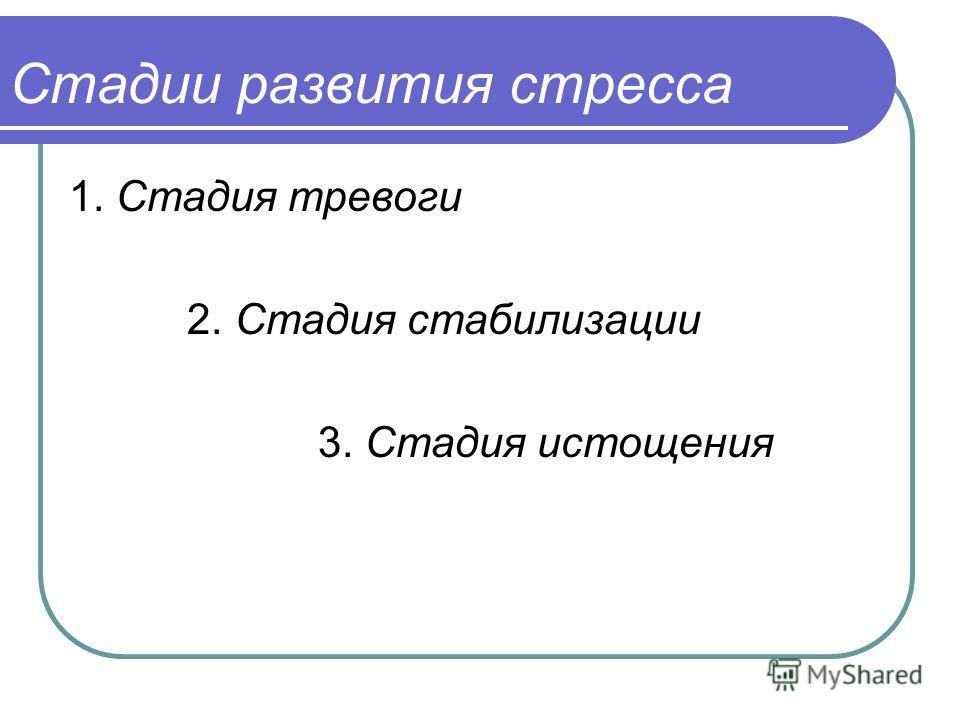 Стадии развития стресса 1. Стадия тревоги 2. Стадия стабилизации 3. Стадия истощения