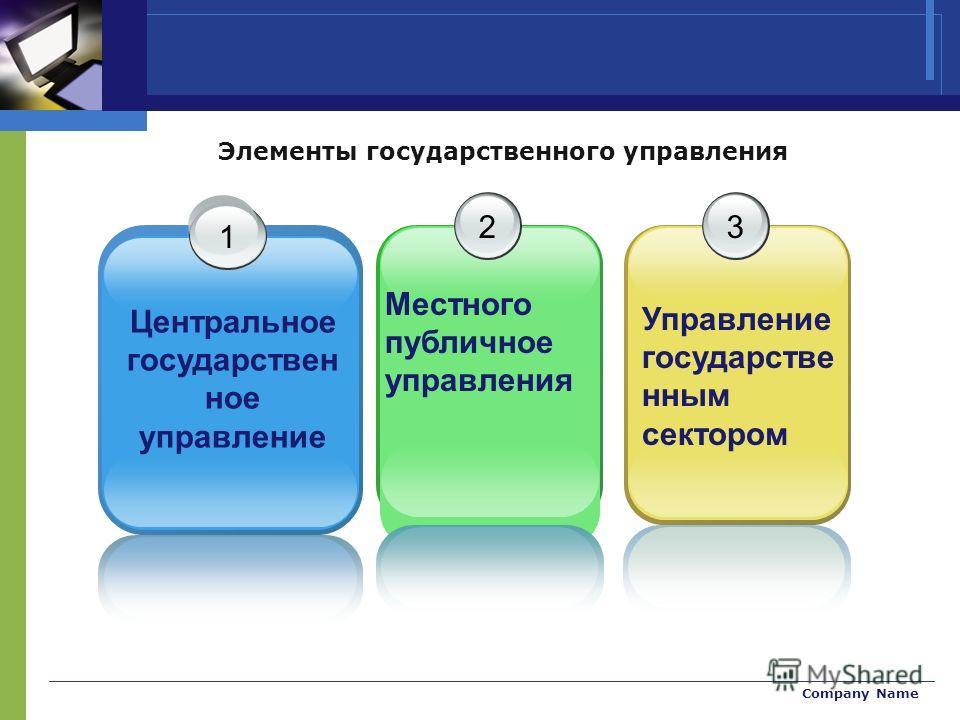 Company Name Элементы государственного управления 1 Центральное государствен ное управление 2 Местного публичное управления 3 Управление государстве нным сектором
