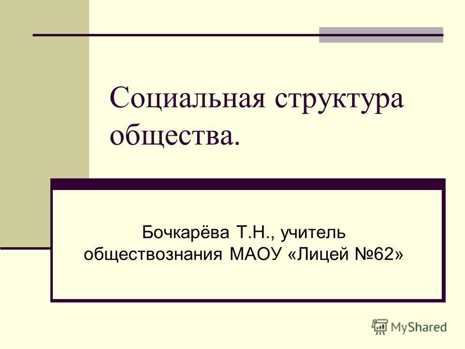 Социальная структура общества. Бочкарёва Т.Н., учитель обществознания МАОУ «Лицей 62»