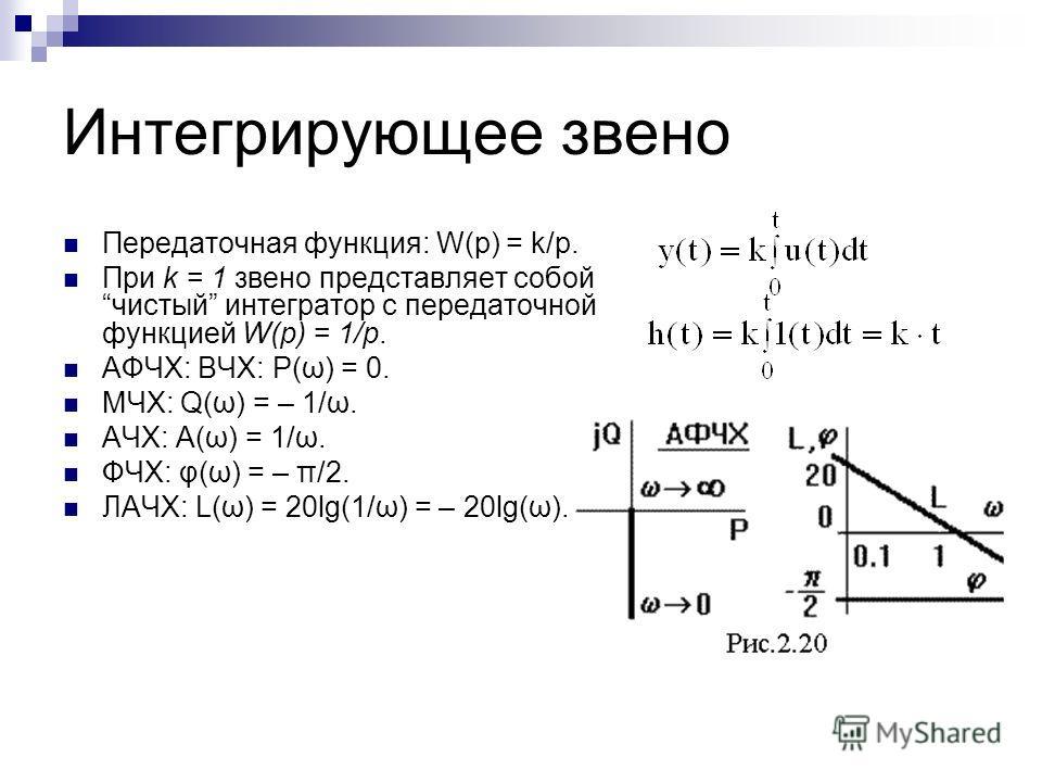 Интегрирующее звено Передаточная функция: W(p) = k/p. При k = 1 звено представляет собой чистый интегратор с передаточной функцией W(p) = 1/p. АФЧХ: ВЧХ: P(ω) = 0. МЧХ: Q(ω) = – 1/ω. АЧХ: A(ω) = 1/ω. ФЧХ: φ(ω) = – π/2. ЛАЧХ: L(ω) = 20lg(1/ω) = – 20lg