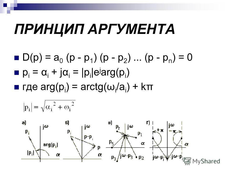 ПРИНЦИП АРГУМЕНТА D(p) = a 0 (p - p 1 ) (p - p 2 )... (p - p n ) = 0 p i = α i + jα i = |p i |e j arg(p i ) где arg(p i ) = arctg(ω i /a i ) + kπ