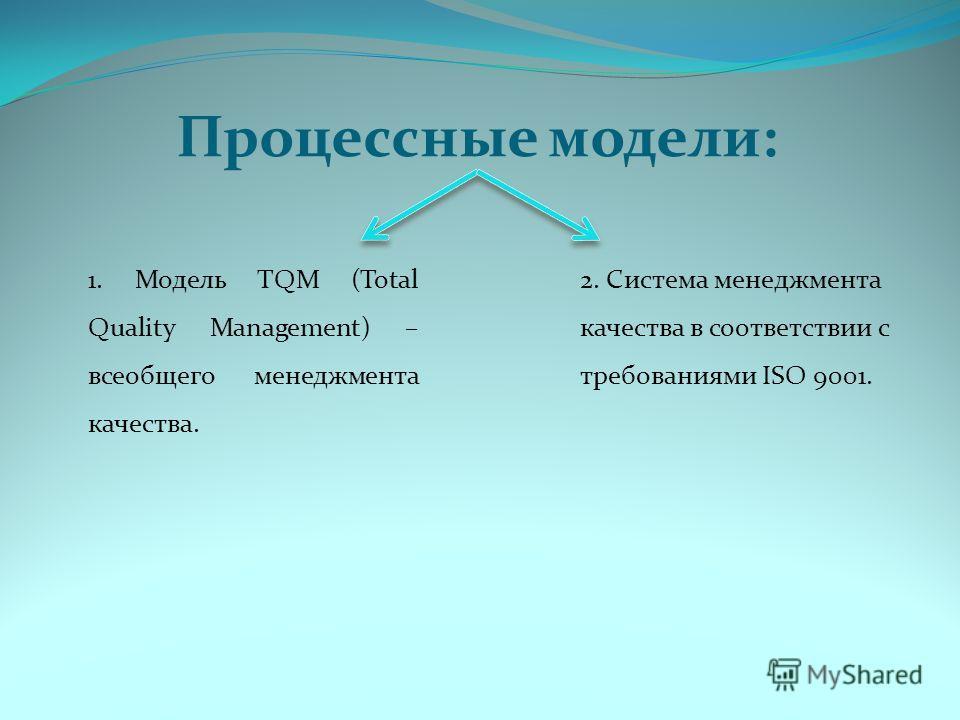 Процессные модели: 1. Модель TQM (Total Quality Management) – всеобщего менеджмента качества. 2. Система менеджмента качества в соответствии с требованиями ISO 9001.