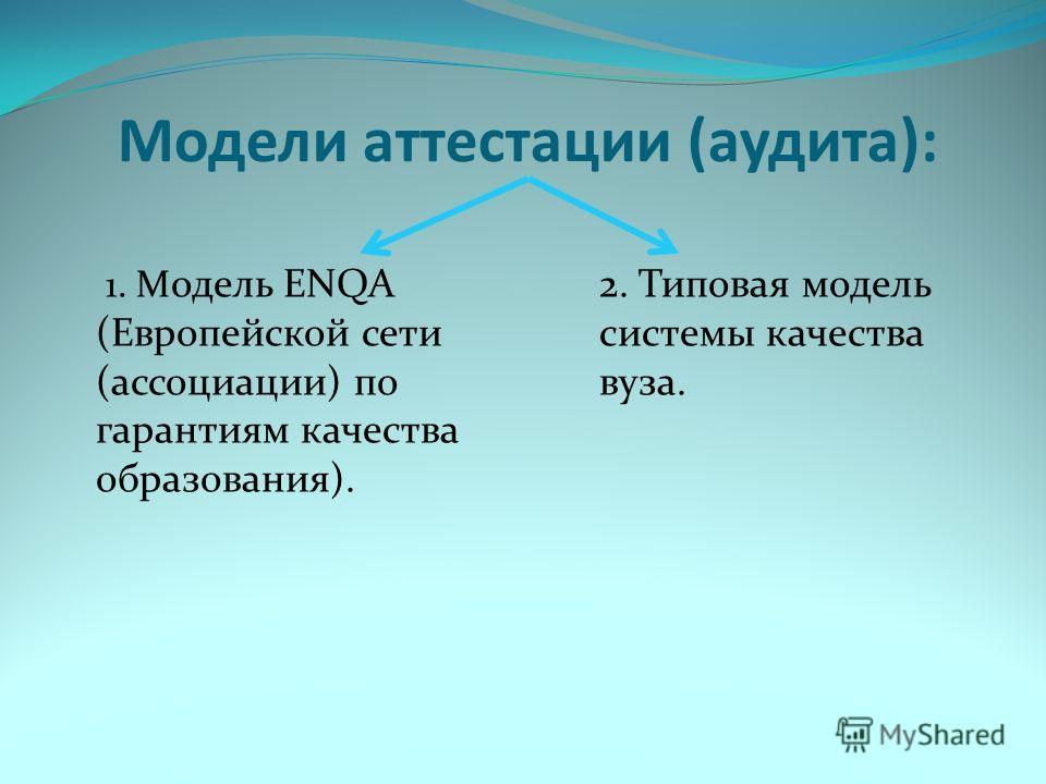 Модели аттестации (аудита): 1. М одель ENQA (Европейской сети (ассоциации) по гарантиям качества образования). 2. Типовая модель системы качества вуза.