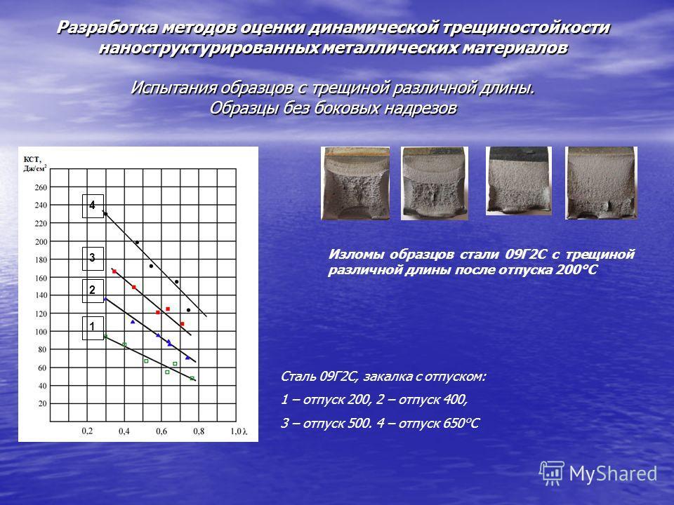 Разработка методов оценки динамической трещиностойкости наноструктурированных металлических материалов Испытания образцов с трещиной различной длины. Образцы без боковых надрезов 1 2 4 3 Сталь 09Г2С, закалка с отпуском: 1 – отпуск 200, 2 – отпуск 400