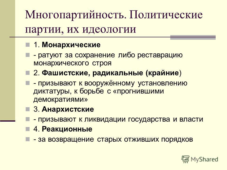 Многопартийность. Политические партии, их идеологии 1. Монархические - ратуют за сохранение либо реставрацию монархического строя 2. Фашистские, радикальные (крайние) - призывают к вооружённому установлению диктатуры, к борьбе с «прогнившими демократ