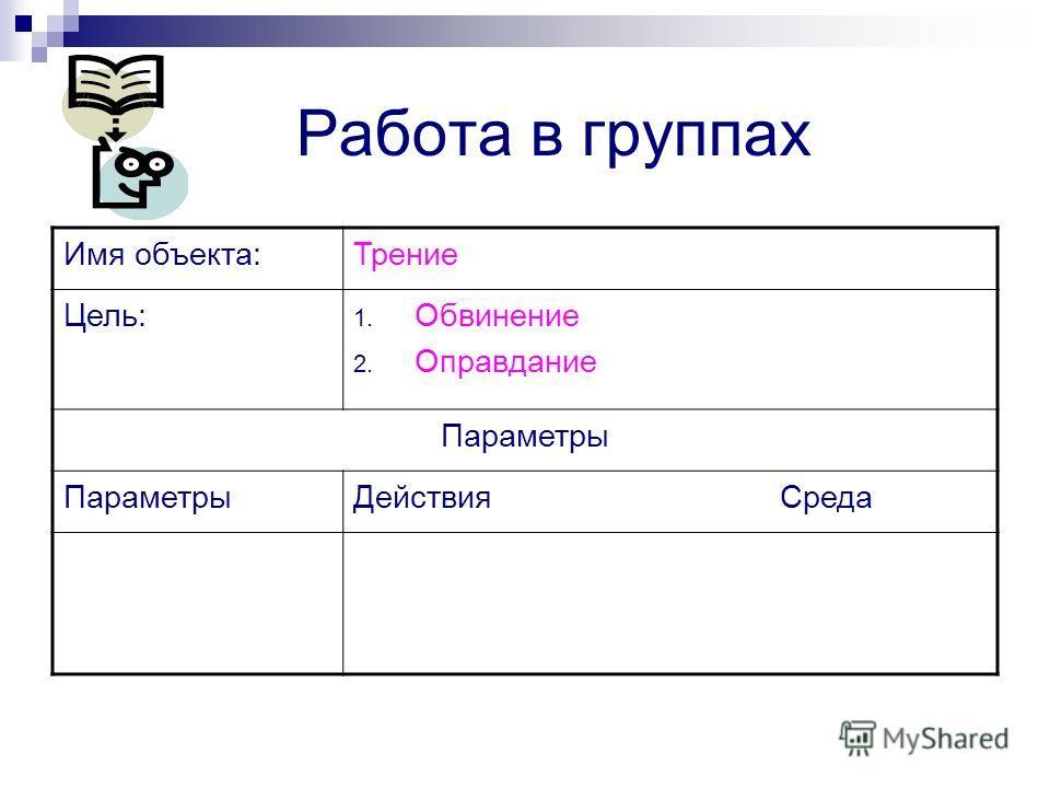 Работа в группах Имя объекта:Трение Цель: 1. Обвинение 2. Оправдание Параметры Действия Среда