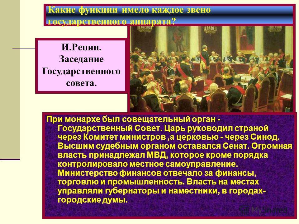 Какие функции имело каждое звено государственного аппарата? При монархе был совещательный орган - Государственный Совет. Царь руководил страной через Комитет министров,а церковью - через Синод. Высшим судебным органом оставался Сенат. Огромная власть