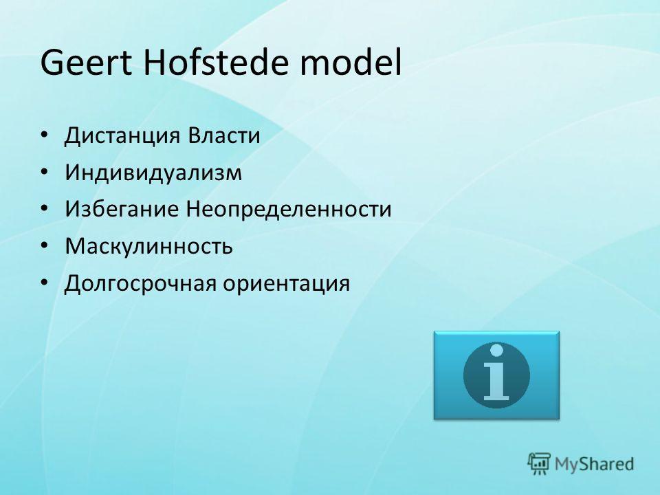 Geert Hofstede model Дистанция Власти Индивидуализм Избегание Неопределенности Маскулинность Долгосрочная ориентация