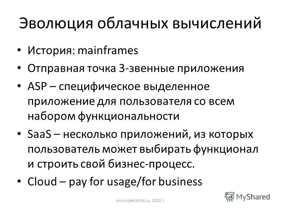 Эволюция облачных вычислений История: mainframes Отправная точка 3-звенные приложения ASP – специфическое выделенное приложение для пользователя со всем набором функциональности SaaS – несколько приложений, из которых пользователь может выбирать функ