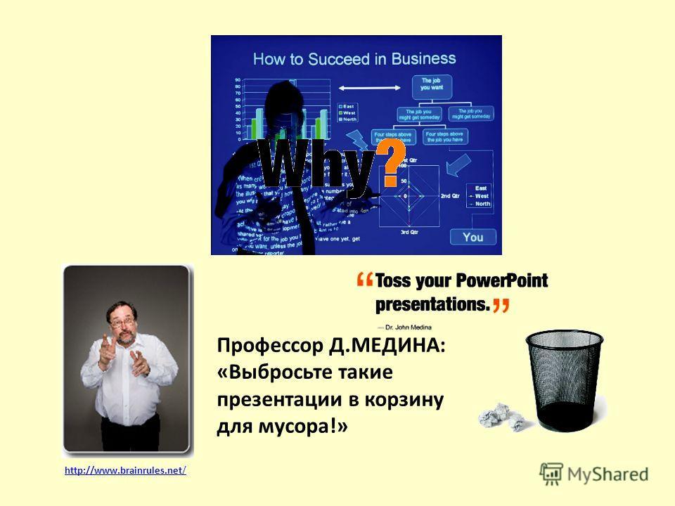 Профессор Д.МЕДИНА: «Выбросьте такие презентации в корзину для мусора!» http://www.brainrules.net/