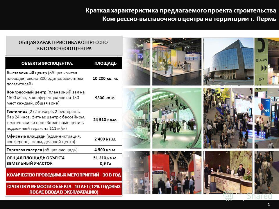 1 ОБЩАЯ ХАРАКТЕРИСТИКА КОНГРЕССНО- ВЫСТАВОЧНОГО ЦЕНТРА КОЛИЧЕСТВО ПРОВОДИМЫХ МЕРОПРИЯТИЙ - 30 В ГОД ОБЪЕКТЫ ЭКСПОЦЕНТРА:ПЛОЩАДЬ Выставочный центр (общая крытая площадь, около 800 единовременных посетителей) 10 200 кв. м. Конгрессный центр (пленарный