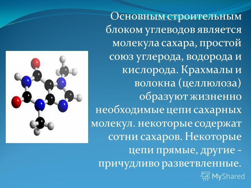 Основным строительным блоком углеводов является молекула сахара, простой союз углерода, водорода и кислорода. Крахмалы и волокна (целлюлоза) образуют жизненно необходимые цепи сахарных молекул. некоторые содержат сотни сахаров. Некоторые цепи прямые,
