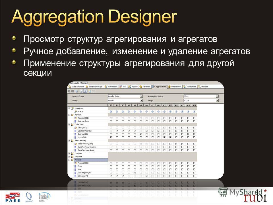 Просмотр структур агрегирования и агрегатов Ручное добавление, изменение и удаление агрегатов Применение структуры агрегирования для другой секции