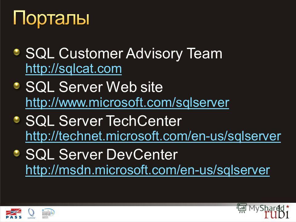 SQL Customer Advisory Team http://sqlcat.com http://sqlcat.com SQL Server Web site http://www.microsoft.com/sqlserver http://www.microsoft.com/sqlserver SQL Server TechCenter http://technet.microsoft.com/en-us/sqlserver http://technet.microsoft.com/e