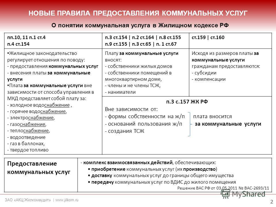 НОВЫЕ ПРАВИЛА ПРЕДОСТАВЛЕНИЯ КОММУНАЛЬНЫХ УСЛУГ 2 ЗАО «АКЦ Жилкомаудит» | www.jilkom.ru О понятии коммунальная услуга в Жилищном кодексе РФ пп.10, 11 п.1 ст.4 п.4 ст.154 п.3 ст.154 | п.2 ст.164 | п.8 ст.155 п.9 ст.155 | п.3 ст.65 | п. 1 ст.67 ст.159